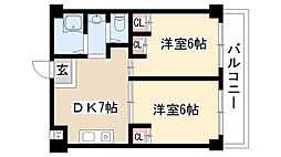 愛知県名古屋市天白区池場5丁目の賃貸マンションの間取り