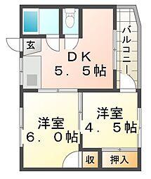 向川原土井マンション[2階]の間取り