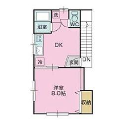静岡県御殿場市東山の賃貸アパートの間取り