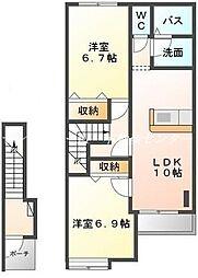 JR山陽本線 高島駅 徒歩25分の賃貸アパート 2階2LDKの間取り