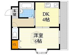 若杉ロイヤルマンション 5階1DKの間取り