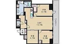 プレミストタワー大阪新町ローレルコート[7階]の間取り