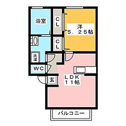 プレジオ高松 A[2階]の間取り