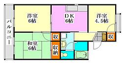 セジュール東船橋[105号室]の間取り