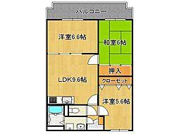 奈良県橿原市地黄町の賃貸マンションの間取り