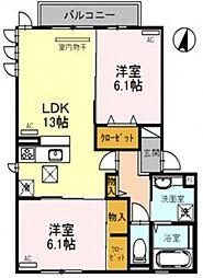 大阪府大阪市平野区平野市町2丁目の賃貸アパートの間取り