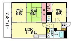 福岡県福岡市博多区浦田2丁目の賃貸マンションの間取り