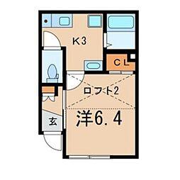 コーポワンエイトB[8号室]の間取り