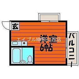 岡山県岡山市中区徳吉町2丁目の賃貸アパートの間取り