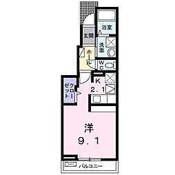 JR東北本線 郡山駅 徒歩20分の賃貸アパート 1階1Kの間取り