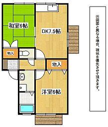 福岡県北九州市八幡西区市瀬3丁目の賃貸アパートの間取り