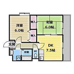 ロイヤルハイツ高井田[2階]の間取り