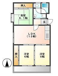 ハイツ東桜[3階]の間取り