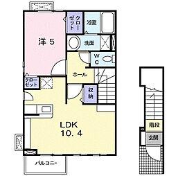 神奈川県平塚市真田2丁目の賃貸アパートの間取り