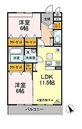 D-room大庭[201号室]の間取り