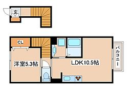 兵庫県神戸市西区玉津町新方の賃貸アパートの間取り