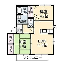 ハピネスK-C[1階]の間取り
