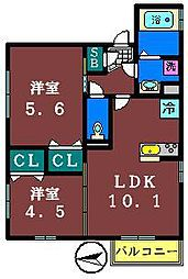 千葉県船橋市東船橋2003丁目の賃貸アパートの間取り