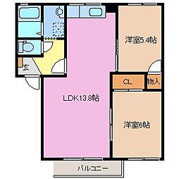 三重県鈴鹿市桜島町2丁目の賃貸アパートの間取り