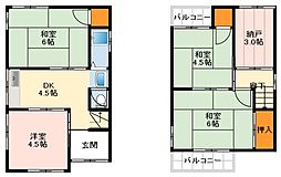南海高野線 萩原天神駅 徒歩13分の賃貸一戸建て 1階5SDKの間取り