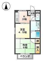 愛知県名古屋市北区楠2の賃貸アパートの間取り