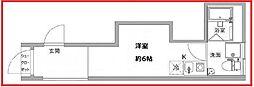 コスティック三ノ輪 3階ワンルームの間取り