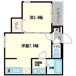 仮称)ハーモニーテラス東中島5丁目B 1階1DKの間取り
