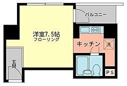 渋谷グランドハイツ 6階ワンルームの間取り