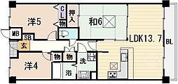 ファミールハイツ八尾A棟[1階]の間取り