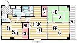 ルノール鴻池[2階]の間取り