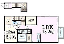 阪急神戸本線 王子公園駅 徒歩14分の賃貸アパート 2階1SLDKの間取り