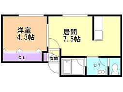アイビーパレス34 3階1DKの間取り