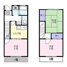 東武伊勢崎線 草加駅 バス12分 峯下車 徒歩8分の賃貸テラスハウス 3Kの間取り