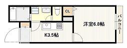 JR山陽本線 廿日市駅 徒歩12分の賃貸アパート 1階1Kの間取り