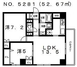 ラシーヌ上本町[7階]の間取り