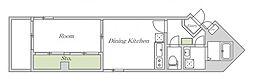 Osaka Metro谷町線 文の里駅 徒歩2分の賃貸マンション 1階1DKの間取り