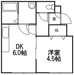 北海道札幌市西区発寒十一条4丁目の賃貸アパートの間取り