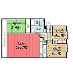 千葉県千葉市緑区おゆみ野中央8丁目の賃貸マンションの間取り