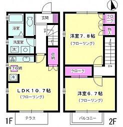 [テラスハウス] 神奈川県厚木市戸室1丁目 の賃貸【神奈川県 / 厚木市】の間取り