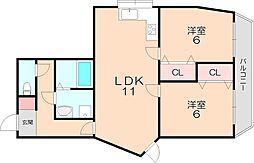 ヴィラウッドランド2[2階]の間取り
