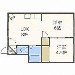 北海道札幌市北区北二十四条西19丁目の賃貸アパートの間取り