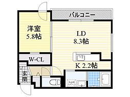 札幌市営東西線 西28丁目駅 徒歩4分の賃貸マンション 2階1LDKの間取り