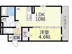 (仮称)D-room泉大津市若宮町 3階1LDKの間取り