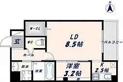 ベリーウェルIII 8階1LDKの間取り