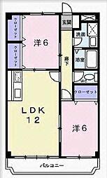 兵庫県加古川市野口町北野の賃貸マンションの間取り