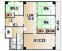 グランドハイツ三萩野[5階]の間取り