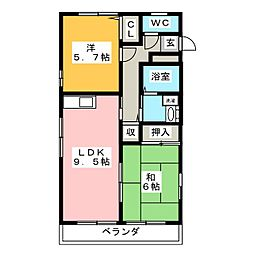 レトアD棟[2階]の間取り