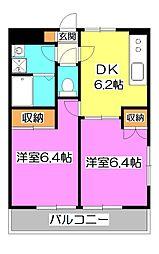 東京都清瀬市元町2丁目の賃貸マンションの間取り