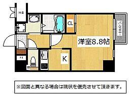 JR鹿児島本線 九州工大前駅 3.4kmの賃貸マンション 2階1Kの間取り