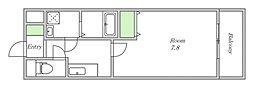 Osaka Metro四つ橋線 西梅田駅 徒歩2分の賃貸マンション 6階1Kの間取り